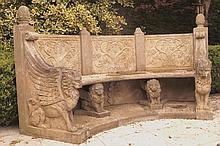 MONUMENTAL ESTATE CARVED STONE GARDEN SEAT