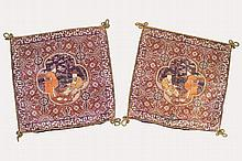 TWO HEAVY CHINESE SILK WOVEN CUSHION COVERS, CIRCA 1920