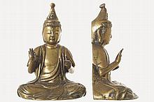 PAIR OF ANTIQUE CHINESE BRONZE BUDDHA FIGURE MOUNTED BOOKENDS
