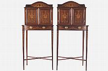 PAIR OF EDWARDIAN PERIOD MAHOGANY AND MARQUETY CABINETS