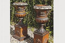 PAIR OF LARGE NINETEENTH-CENTURY CAMPANA SHAPED TERRACOTTA URNS