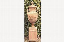 PAIR OF LARGE TERRACOTTA ESTATE URNS WITH LIDS