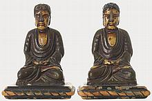 PAIR OF CHINESE QING PERIOD POLYCHROME CARVED WOOD BUDDHAS