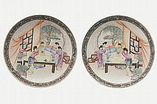 PAIR OF CHINESE REPUBLICAN PERIOD FAMILE ROSE PLATES