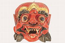 CHINESE QING PERIOD CARVED HARDWOOD MASK