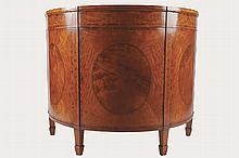 EIGHTEENTH-CENTURY SATINWOOD AND PAINTED DEMI-LUNE SHAPED COMMODE
