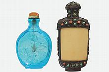 CHINESE BLUE OVERLAY GLASS SNUFF BOTTLE AND A TURQUOISE AND CORAL INLAID TIBETAN SNUFF BOTTLE