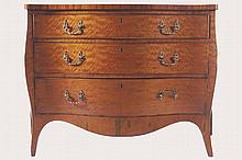 EIGHTEENTH-CENTURY PERIOD SATINWOOD?CHIPPENDALE SERPENTINE COMMODE
