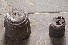 TWO CAST-IRON WEIGHTS