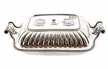 Important pair of Irish crested silver entree dishes and covers, Dublin 1830