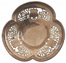 Silver pierced trefoil shaped bon-bon dish