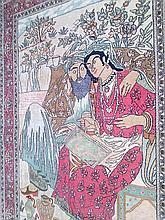 Pictorial silk rug, circa 1880