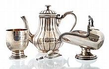 Silver plated sugar bowl and coffee pot