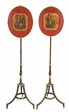 Pair of George III period lacquered pole screens