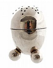 Victorian sterling silver egg-shaped pepper pot