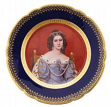 Pair of Franz Aaver Thallmaier porcelain portrait plates