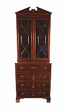 Signed Edwardian period mahogany and marquetry secretaire bookcase