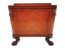 Regency period mahogany and ebony line inlaid wine cellaret, circa 1820