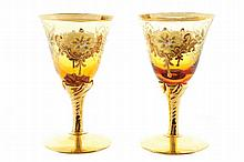 Set of six Italian decorated glass goblets