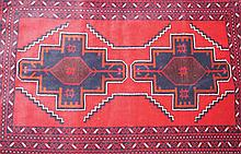 Small handwoven Afghan Baluchi tribal rug