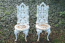 Pair of nineteenth-century Coalbrookedale cast iron garden chairs