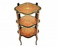 Nineteenth-century period Buhl brass and red tortoiseshell inlaid three tier table