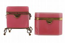 Two ormolu mounted Bohemian glass sugar boxes