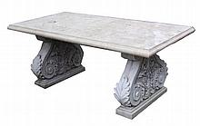 Large moulded scroll end garden table