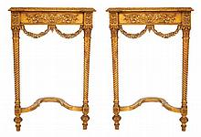 Pair of nineteenth-century period carved giltwood console tables