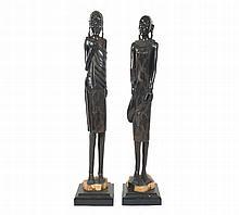 Pair of African wooden sculptures