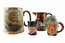 Miniature sterling character jug and Royal Doulton jug