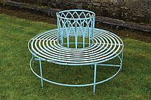 Circular wrought iron tree seat