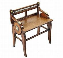 Important Aesthetic Revival walnut and brass-mounted stool