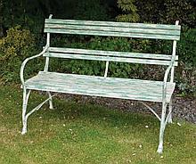 Pair of cast iron and metal garden seats