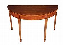 Pair of George III period mahogany and boxwood inlaid side tables