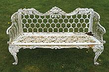 Nineteenth-century cast iron garden bench