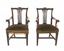 Pair of nineteenth-century mahogany elbow chairs