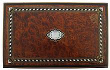 Nineteenth-century brass mounted amboyna, mother o'pearl brass inlaid jewellery box