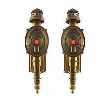 Pair of brass carriage lamps