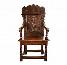 Seventeenth-century period carved oak wainscot chair, circa 1680