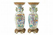 Pair of large ormolu mounted nineteenth-century Chinese Canton vases