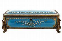 Nineteenth-century ormolu mounted enamelled jewellery casket