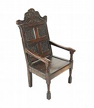 Seventeenth-century period carved oak Wainscot chair