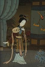 Nineteenth-century Japanese reverse painted panel