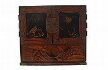 Nineteenth-century Japanese lacquered and parquetry chest of small drawers