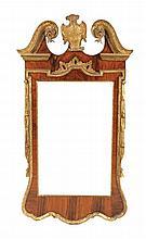 George II period walnut and parcel gilt pier mirror, circa 1760