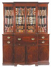 Edwardian period mahogany and chequered string inlaid breakfront bookcase, circa 1900