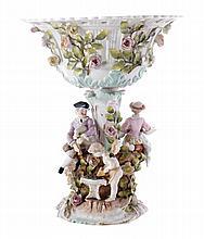 Nineteenth-century Sitzendorf cherub and shepherd stemmed centre piece