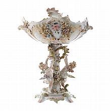 Nineteenth-century German porcelain figure supported centre piece
