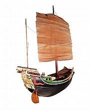 Nineteenth-century Chinese model of wooden junk